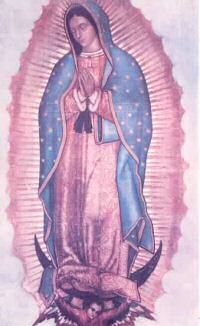 The image of Our Lady of Guadalupe as she appears on Juan Diego's cloak which now hangs in the Basilica of Guadalupe in Mexico City